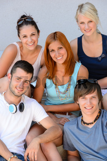 Portrait of college student friends group smiling