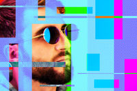 Art collage with a close up portrait of funky young bearded hipster man in sunglasses on a colorful background. Glitch effect. Acidic neon colors. Pop art style. Zine culture. Creative concept image.