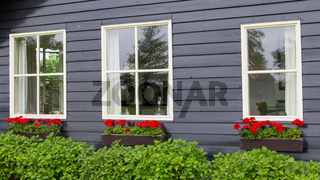 Windows of a tradtional wooden house with red flowers