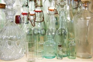 Old antique glass bottles