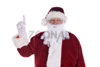 Santa Claus Pointing his index finger in the air - number 1 gesture.