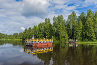 Ferry in the village of Mandrogi Russia