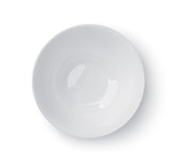 Top view of white empty ceramic dip bowl
