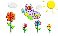 Illustration of a colorful butterfly on a flower meadow