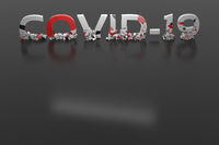Covid-19 lettering shattered into pieces on a dark gray background with copyspace for your text. The concept of anti-virus virus control against a pandemic background. Stay at home and fight