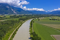 Floodplain of the Rhone river, Port-Valais, Valais, Switzerland