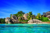 Source d'Argent Beach, Island La Digue, Indian Ocean, Republic of Seychelles.