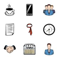Corporation icons set, cartoon style