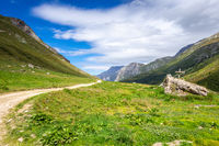 Mountain and hiking path landscape in French alps
