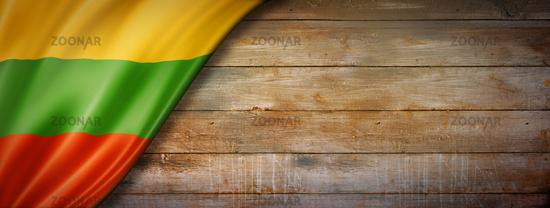 Lithuanian flag on vintage wood wall banner