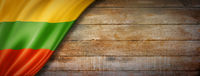Lithuanian flag on vintage wood wall banner