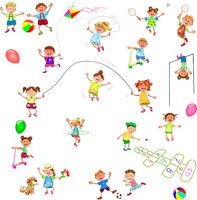Happy little children play