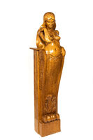 Wooden carved column with mermaid figure on isolated background