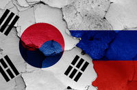 flags of South Korea and Russia painted on cracked wall