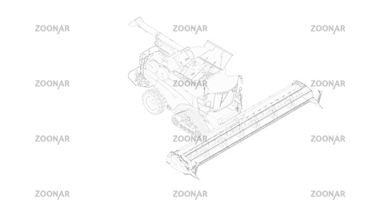 Harvester 3d rendering of a agriculture machinery model computer created clean isolated minimal and complex white background