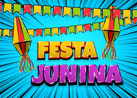 Festa Junina comic text pop art