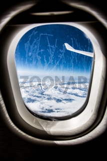 Frost on the Airplane glass window.
