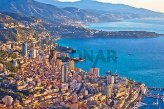 Monaco and Monte Carlo cityscape and coastline colorful view from above