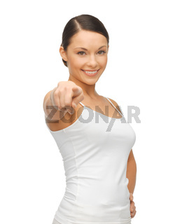 woman in blank white t-shirt pointing her finger