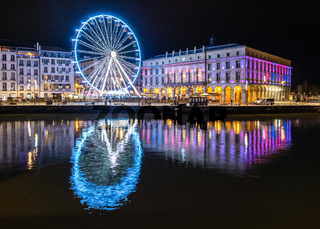 The ferris wheel at night in Bayonne, France