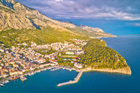 Makarska. Aerial view of Nugal in Town of Makarska and Biokovo mountain