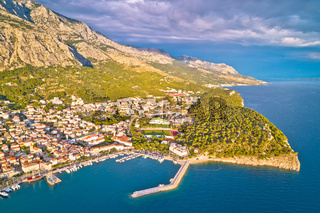 Makarska. Aerial view of Nugal in Town of Makarska and Biokovo mountain