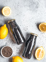 Detox activated charcoal black chia lemon water
