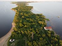 Top-down aerial view of the peninsula in the Leningrad region
