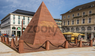 Karlsruhe Pyramid, city's founder grave, red sandstone monument located on market square of Karlsruhe, Baden-Württemberg, Germany