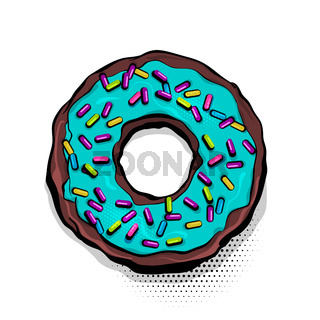 Glazed donut cartoon pop art style