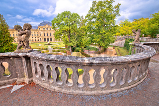 Wurzburg Residenz and colorful gardens view