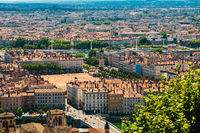 Lyon panorama elevated view on sunny day. Aerial panoramic view of Lyon with the skyline. Bellecour Square And Place Poncet, Lyon, France