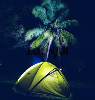 Tent in night