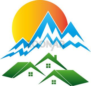 Berge, Sonne, Häuser, Reisebüro, Hügel, Logo