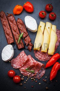 Platter of antipasti and appetizers