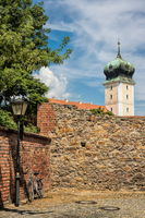 Delitzsch, Germany - June 19, 2019 - city wall with castle tower