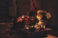 altar of candles and flowers in interiors,