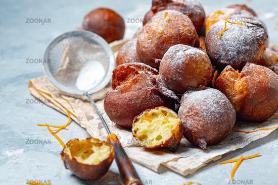 Homemade French doughnuts Beignet.
