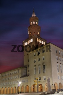 City Hall tower in Opole Poland at night