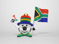 Soccer character fan supporting South Africa