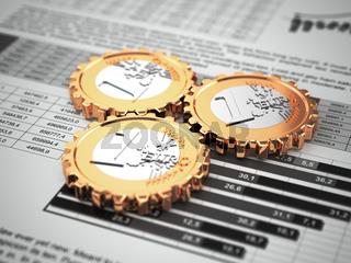Euro coins as gear on business graph. Financial concept.