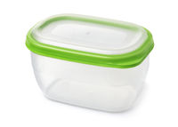 Food plastic storage container with green lid