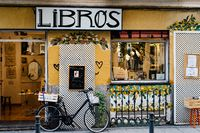 Trendy bookstore in Malasana district in Madrid