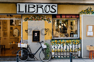 Trendy bookstore in Malasana district in Madrid