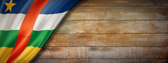 Central African Republic flag on vintage wood wall banner
