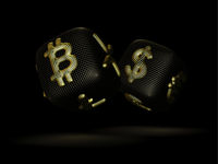 Digital 3D dices with cryptocurrency logos Bitcoin, Litecoin and Ripple.
