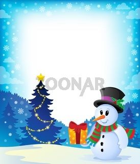 Christmas snowman theme image 2 - picture illustration.