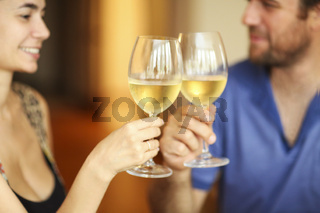 Content couple during dunner in restaurant