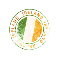 Ireland sign, vintage grunge imprint with flag on white
