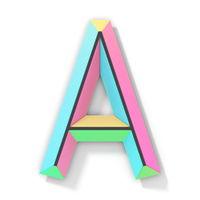 Neon color bright font Letter A 3D